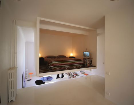Bedroom in a floating bed box