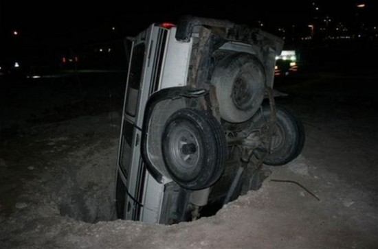 I wonder if I could fit my jeep in this hole