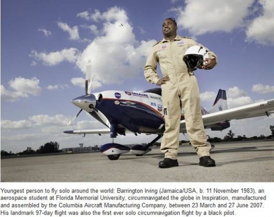 Youngest person to fly solo around the world