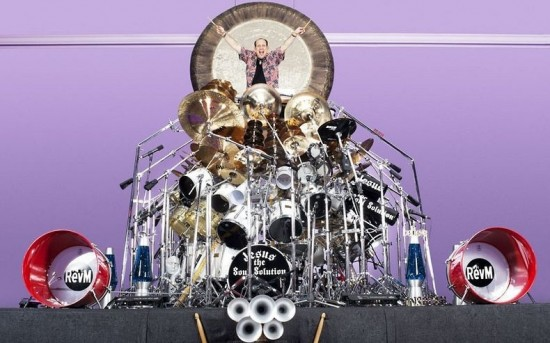 The largest drum set is comprised of 340 pieces,