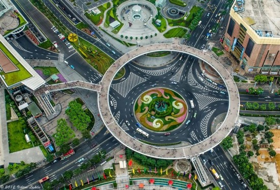 Circular Pedestrian Bridge in Lujiazui - China