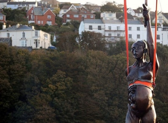 Pregnant Woman Sculpture in Ilfracombe