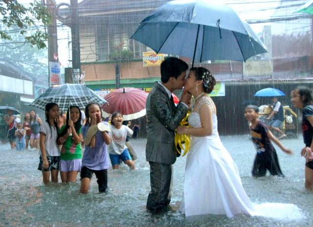 The wedding held during a monsoon in Manila